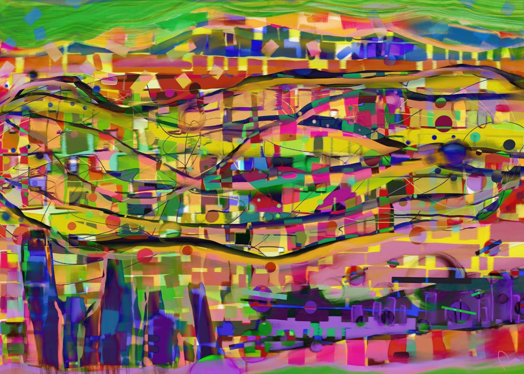 Original Abstract Painting HAPPY TOGETHER Trees Landscape Wall