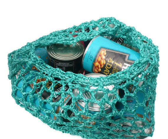 Crochet Net Bag : Net Bag. Green Crochet Polypropylene. Made in by TrinketsNTrowels