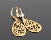 Gold pattern filigree tear drop earrings, rhinestone earrings, wedding jewelry