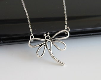 Silver dragonfly necklace, simple everyday jewelry
