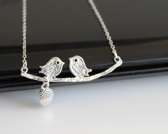 Two kissing love birds necklace, simple silver necklace, everyday jewelry