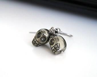 Pyrite skull earrings, natural stone earrings, petite Halloween earrings, sterling silver earrings, simple everyday jewelry