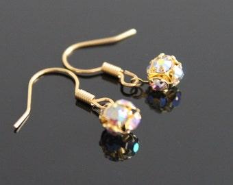 Crystal ball dangle gold earrings, small rhinestone earrings, simple everyday jewelry