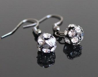 Black clear crystal ball dangle gunmetal earrings, small rhinestone earrings, simple everyday jewelry