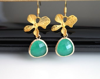 Green opal orchid gold earrings, fresh mint flower earrings, simple everyday jewelry
