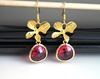 Fuchsia orchid gold earrings, hot pink flower earrings, simple everyday jewelry