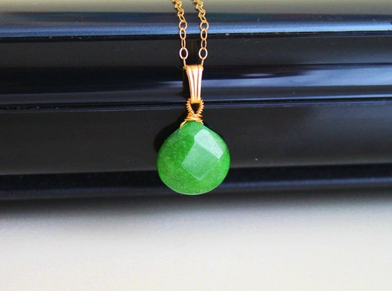 Emerald green jade necklace, gold fill necklace, gold simple everyday jewelry