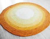 Sunglow - Upcycled Crochet Rug / Handmade Rag / Crocheted Carpet / Eco Friendly Design / Recycling - Yellow and Orange