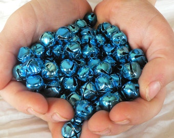 Blow out sale! 100 Lot Blue Jingle Bells 10mm metal -  shiny and new - Best price on Jingle Bells you can find! Now only 1.50 each bag!