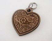 Wooden Cat Tag - Engraved Heart Pet Tag Dog Collar Charm