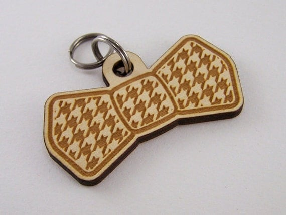 Dog Bow Tie Wood - Pet ID Tag Custom Houndstooth Cat Collar Tag