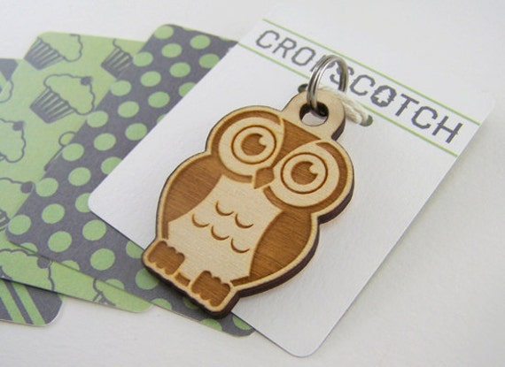Dog Collar Tags Personalized - Wood Owl Pet ID Tag Laser Cut