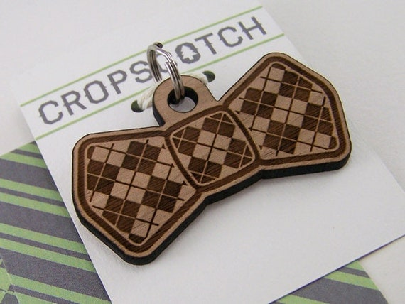 Wooden dog tag - custom pet id tag argyle dog bow tie