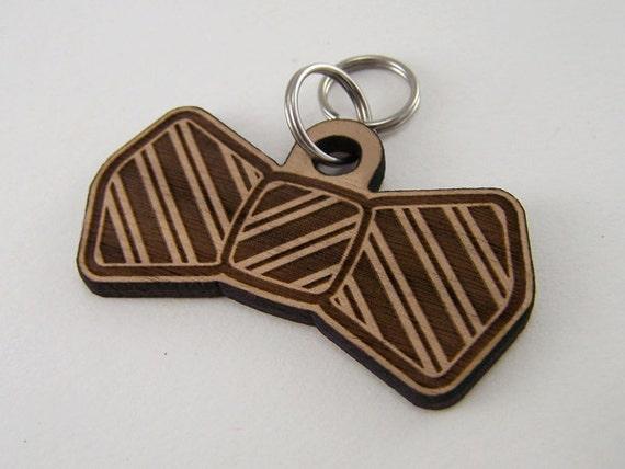 Dog Tags Custom Wood - Cat Collar Bow Tie Pet ID Tag