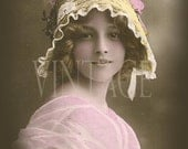 """Digital Download image """"Absolutely stunnig young woman""""  scan vintage french photo postcard photograph  300 dpi  Print74"""
