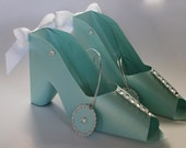 Two (2) Tiffany inspired shoe gift boxes and gift tag - Mother's Day Special