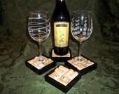 Wine Cork Coasters - Set of 4 (Black)