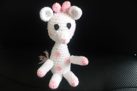 White and Pink Toy - Giraffe - Stuffed - Crochet - Knitted - Children - Girl - Baby - Nursery - Soft Cute Decoration