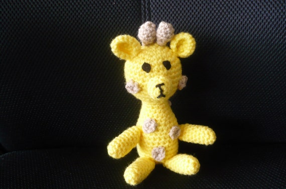 Yellow and Brown Toy - Giraffe - Stuffed - Crochet - Knitted - Children - Girl - Boy - Baby - Nursery - Soft Cute Decoration