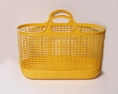 Vintage Rare Ingrid Mid Century Yellow Rubber Plastic Beach Bag Travel Tote Laundry