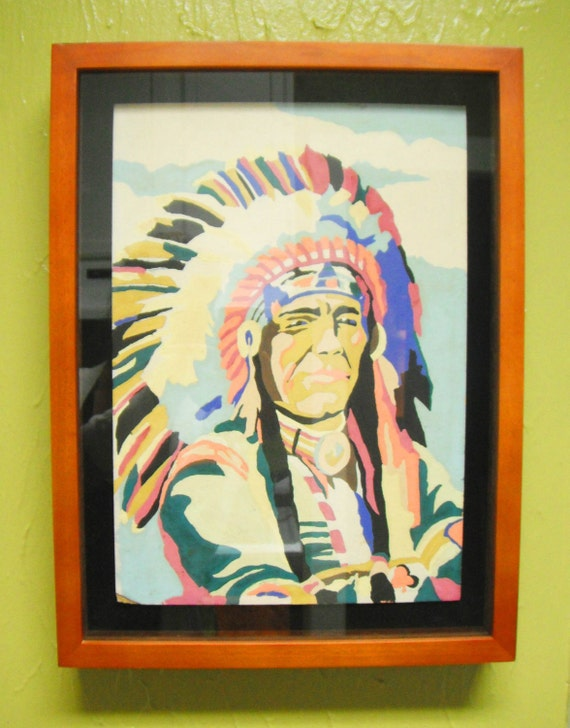 Vintage 1950's Paint by Number Native American Indian Chief Southwest