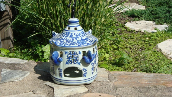 SALE Unique Blue and White Birdhouse