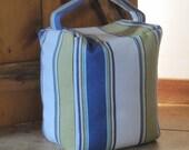 Super large Striped Door Stop. Blue and Green stripe Cotton door bag 17x15x12 cms