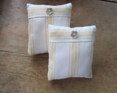 Pair of Stripey Pin cushions Pinholders Both 10x11 cms with mother of pearl button trim - how cute