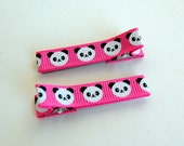 Panda Ribbon Lined Hair Clippie - Bright Pink, Set of 2 Clips