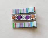 Ribbon Lined Hair Clippies - PB & J Best Friends and Stripes, Set of 3 Clips