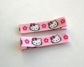 Hello Kitty Ribbon Lined Hair Clippie - Pink, Set of 2 Clips