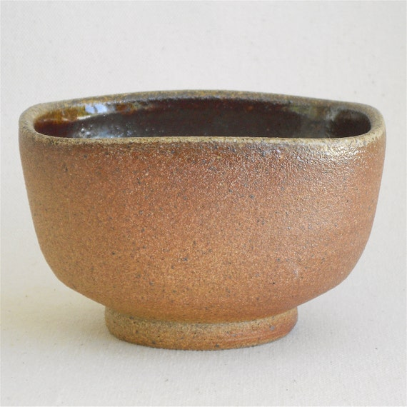 Square Round Bowl, Woodfired with Tenmoku