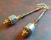 upcycled gold and silver tone earrings