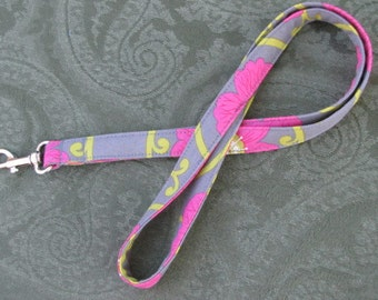 Fabric Lanyard ID badge holder - Great Teacher Gift, Nurse, Student, Coach lanyard - Pink Flowers