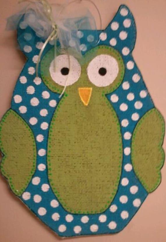 Polka dot burlap hoot owl door hanger