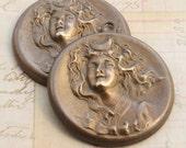 2 RETRO Aged Solid Brass Nouveau Moon Maiden Princess Pieces