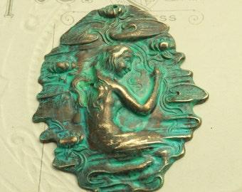 Nouveau Mermaid Lily Pad - Verdigis Patina - Solid Brass Pendant Piece