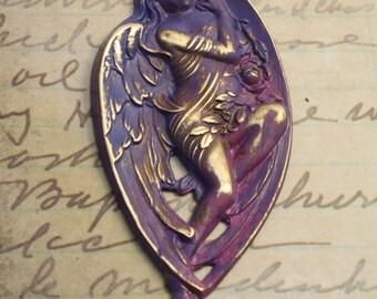 Nouveau Angel - Antique Patina - Solid Brass Pendant Piece
