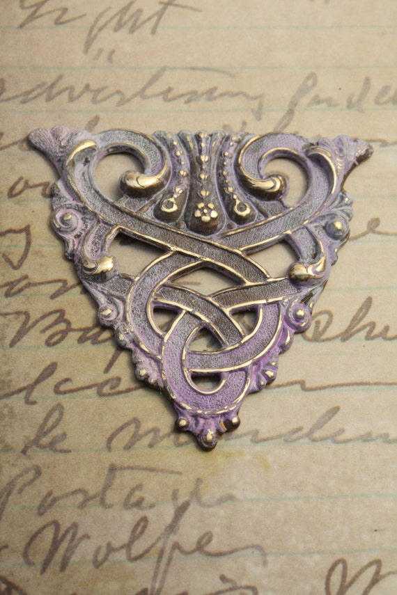 Art Deco Intertwined Pendant Piece - Victorian Patina - Solid Brass