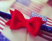 SALE-Red Felt Bow on Glitter Blue Elastic Headband