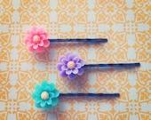 Set of 3 Itty Bitty Flower Hair Pins