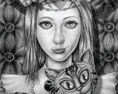 Queen Alice - 8X10 Print .- An original graphite drawing presented as a high quality print.