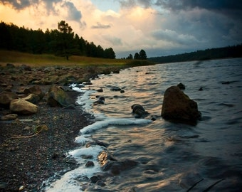 As the Storm Breaks - Vivid Images of Autumn Storm over Lake Mary in Flagstaff, Arizona - Scenic Weather Photography, Landscape, Waterscape