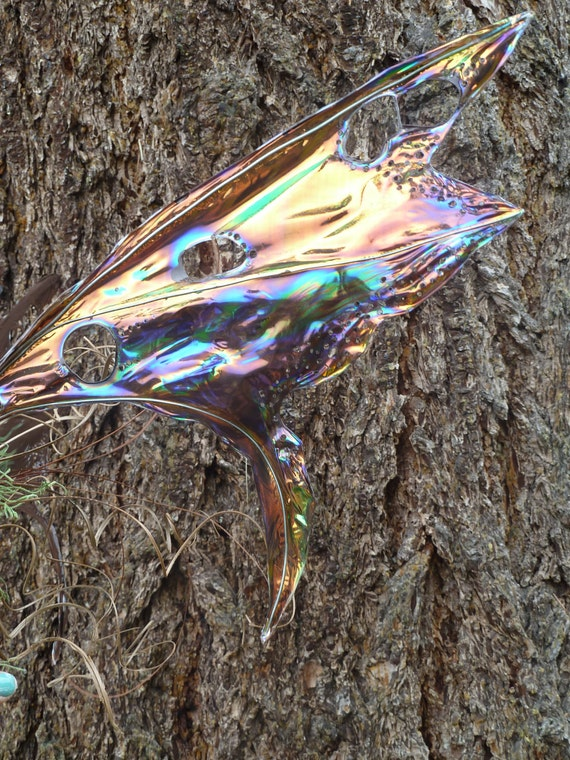 Earthy hand painted irredescent pixie wings