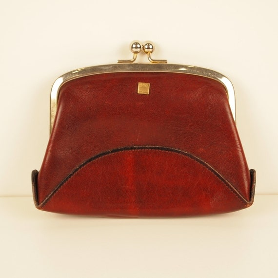Red Leather Zeiss Coin Purse, vintage