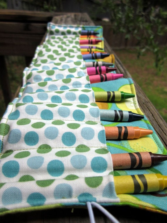 Crayon Roll (16 count)- Blue Green Pear and Polka Dot- Ready to Ship