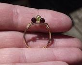 Garnet and Peridot wire ring