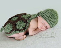 Crochet Turtle Cape Set Newborn-3-6mo MADE TO ORDER Photography Prop