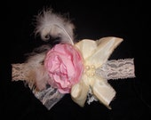 Pink Baby Headband Shabby Chic Flower with Feathers, Lace & Pearls for Baby, Toddler by Bloomin' Cuties