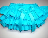 Ready To Ship 24 Mos. Little Miss Caribbean Blue Newborn Infant Toddlers Turquoise Aqua Ruffle Bloomers Diaper Cover